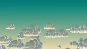 Nuvens do voo dos desenhos animados no céu da manhã ilustração do vetor