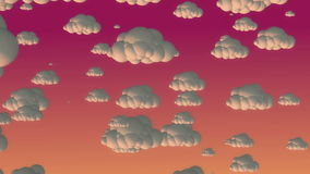 Nuvens do voo dos desenhos animados no céu da noite ilustração royalty free