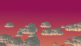 Nuvens do voo dos desenhos animados no céu da noite ilustração do vetor