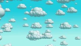 Nuvens do voo dos desenhos animados no céu do dia ilustração royalty free