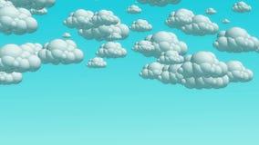 Nuvens do voo dos desenhos animados no céu do dia filme