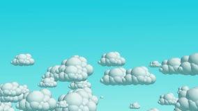 Nuvens do voo dos desenhos animados no céu do dia ilustração do vetor