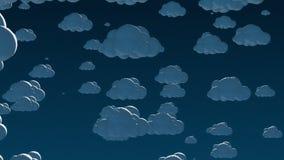 Nuvens do voo dos desenhos animados no céu noturno ilustração do vetor