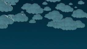 Nuvens do voo dos desenhos animados no céu noturno ilustração stock