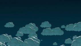 Nuvens do voo dos desenhos animados no céu noturno 3d ilustração royalty free