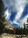 Nuvens e árvores bonitas na serra Nevadas Foto de Stock Royalty Free