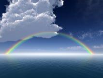 Nuvens e arco-íris sobre o mar ilustração stock