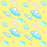 Nuvens e corações Teste padrão sem emenda Teste padrão do ` s das crianças Máscaras pasteis ilustração royalty free