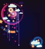 Nuvens e estrelas de chuva do vetor Imagens de Stock
