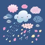 Nuvens e folhas de outono Imagens de Stock Royalty Free