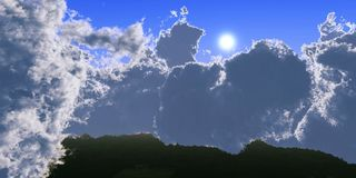 Nuvens e sol, céu bonito com nuvens Fotografia de Stock