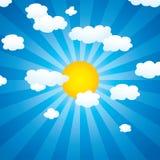 nuvens e sol do vetor no céu ilustração royalty free