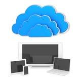 Nuvens em 3d no branco Fotografia de Stock Royalty Free