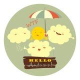 Nuvens engraçadas que abraçam o sol ilustração do vetor