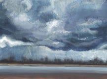 Nuvens escuras Noite chuvosa no litoral imagem de stock
