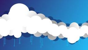 Nuvens longas do estilo dos desenhos animados que flutuam gráficos do movimento video estoque