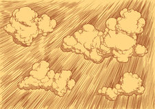 Nuvens no céu Face das mulheres Hand-drawn de illustration Gravura retro do vintage Fotografia de Stock