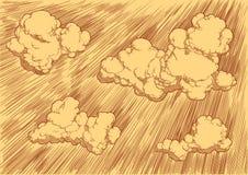 Nuvens no céu Face das mulheres Hand-drawn de illustration Gravura retro do vintage fotografia de stock