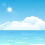 Nuvens no oceano ilustração royalty free