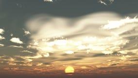 nuvens running do timelapse 4k no nascer do sol, vindo de uma distância, Dawn Scene ilustração royalty free
