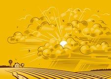 Nuvens sobre campos Imagens de Stock Royalty Free