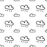 Nuvens tiradas do teste padrão mão sem emenda Esboço do preto da garatuja Sinal sy ilustração do vetor