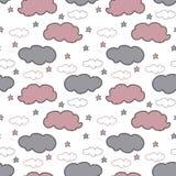 Nuvens tiradas mão e estrelas cinzentas e cor-de-rosa no fundo branco ilustração royalty free