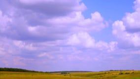 Nuvens tormentosos que movem-se sobre uma estrada e um campo da pradaria video estoque
