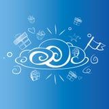 Nuvola allegra con i presente e la bandiera Immagine Stock Libera da Diritti