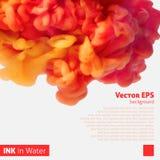 Nuvola arancio dell'inchiostro di colore in acqua illustrazione di stock