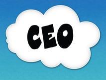Nuvola bianca con il CEO messaggio sul fondo del cielo blu Fotografia Stock