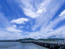 Nuvola bianca dell'indaco degli azzurri, cielo blu profondo Immagini Stock