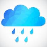 Nuvola blu con goccia di pioggia dei triangoli Immagini Stock Libere da Diritti