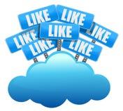 Nuvola che computa come la rete sociale di media Fotografie Stock