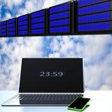 Nuvola che computa, concetto di connettività di tecnologia fotografia stock