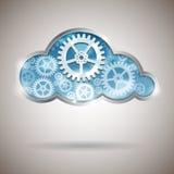 Nuvola che computa illustrazione astratta con le ruote di ingranaggio Fotografia Stock Libera da Diritti