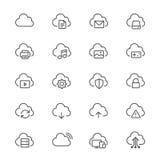 Nuvola che computa le icone sottili Fotografia Stock Libera da Diritti