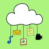 Nuvola che computa nello stile di scarabocchio Immagini Stock Libere da Diritti