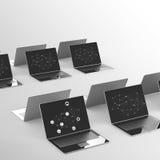 Nuvola che computa segno 3d sul computer portatile Immagini Stock