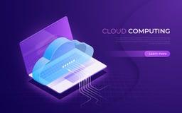 Nuvola che computa, stoccaggio, servizi, concetto isometrico della rete di trasmissione di dati royalty illustrazione gratis