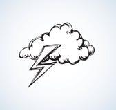 Nuvola con fulmine Illustrazione di vettore Fotografia Stock