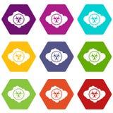 Nuvola con il hexahedron stabilito di colore dell'icona di simbolo di rischio biologico illustrazione di stock