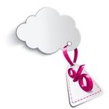 Nuvola con il segno di percentuali di promessa Illustrazione Vettoriale