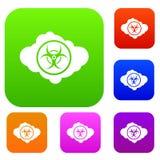 Nuvola con la raccolta dell'insieme di simboli di rischio biologico illustrazione vettoriale
