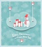 Nuvola con le campane dei regali del pupazzo di neve Immagine Stock Libera da Diritti