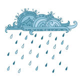 Nuvola con le gocce di pioggia isolate su fondo bianco royalty illustrazione gratis