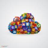 Nuvola con molte icone dell'applicazione Fotografia Stock Libera da Diritti