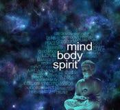 Nuvola cosmica di parola di Buddha di spirito della mente corpo Fotografia Stock