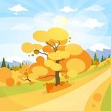 Nuvola del blu di Autumn Landscape Mountain Forest Road Immagini Stock Libere da Diritti