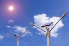 Nuvola del blu di energia di elettricità della natura del pannello solare Fotografia Stock